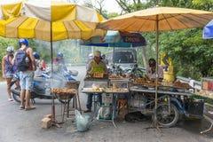 Alimento, carne e peixes asiáticos no assado fotos de stock