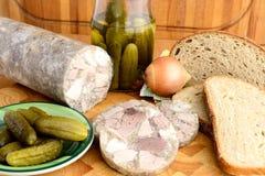 Alimento ceco tradizionale - Headcheese Fotografie Stock Libere da Diritti