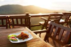 Alimento Cena en restaurante tailandés Comida sana Viaje a Thailan Imagen de archivo libre de regalías