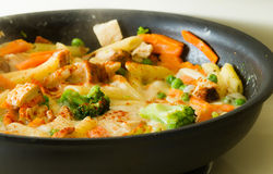 Alimento che cucina in una vaschetta Immagini Stock Libere da Diritti