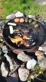 Alimento che fa su un fuoco Fotografia Stock