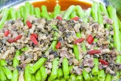 Alimento chinês, carne triturada, feijões cozinhados Imagens de Stock Royalty Free