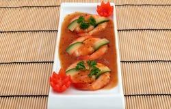 Alimento chinês - o gourmet grelhou camarões do tigre do rei fotos de stock royalty free