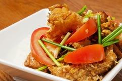 Alimento chino - tomates y pescados Imagen de archivo