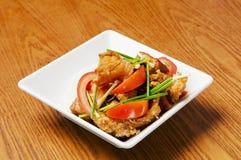 Alimento chino - tomates y pescados Imagen de archivo libre de regalías