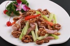 Alimento cinese della noce fritta porco Fotografie Stock Libere da Diritti