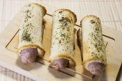 Alimento com pão e salsicha Imagem de Stock