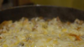 Alimento coreano di Dakgalbi di cucina del movimento lento Cuoco del cuoco unico in un ristorante Corea archivi video