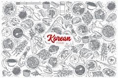 Alimento coreano disegnato a mano messo con iscrizione Immagine Stock