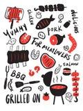 Alimento cotto Illustrazione disegnata a mano di carne arrostita, di bistecca ecc Iscrizione scritta mano Progettazione del menu  royalty illustrazione gratis