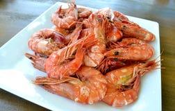 Alimento cozinhado dos camarões fotografia de stock