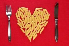 Alimento creativo italiano del corazón Imágenes de archivo libres de regalías