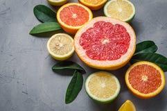 alimento crudo: affettare gli agrumi Arancia, mandarino, pompelmo della calce del limone Fotografia Stock