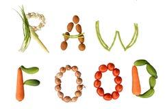 ALIMENTO CRUDO di scrittura di verdure Fotografia Stock