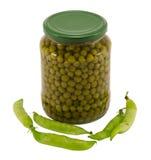 Alimento crudo inscatolato delle coperture del barattolo di vetro del vaso di pease della prerogativa Fotografia Stock