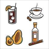 Alimento cubano e para beber objetos isolados de viagem da cultura de Cuba ilustração royalty free