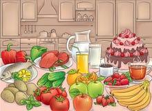 Alimento in cucina illustrazione vettoriale