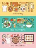 Alimento, cucinare ed insieme sano dell'insegna di cibo illustrazione di stock