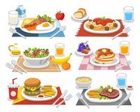 Alimento da amostra em cada refeição Refeições dos povos que devem comer ilustração royalty free