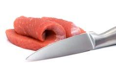 Alimento da carne e da faca isolado foto de stock royalty free