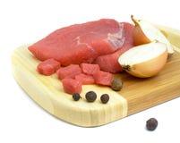 Alimento da carne na placa isolada fotos de stock royalty free