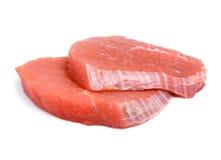 Alimento da fatia do bife da carne isolado Fotos de Stock