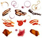 Alimento da ketchup do chocolate do vinho do café da mancha da mancha imagem de stock