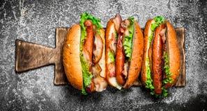 Alimento da rua Assado da carne dos cachorros quentes com molhos picantes Imagens de Stock Royalty Free