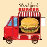 Alimento da rua, camionete, minibus, refeições nas rodas ilustração royalty free