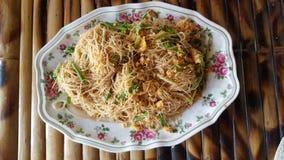 Alimento da tabela do macarronete da fritada Foto de Stock Royalty Free