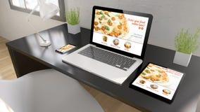 alimento da tavolino nero di ordine online Fotografia Stock Libera da Diritti