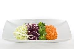 Alimento das saladas na placa branca Imagem de Stock