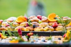 Alimento de abastecimento do bufete exterior Uvas das laranjas das bagas dos frutos frescos dos bolos e decorações coloridas da e Imagens de Stock