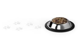 Alimento de animal de estimação, alimento de cão, pegadas animais Imagens de Stock Royalty Free