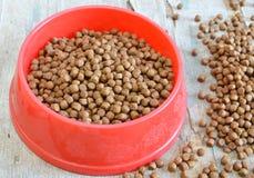 Alimento de animal doméstico en tazón de fuente rojo Foto de archivo libre de regalías