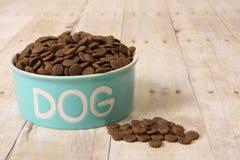 Alimento de cão em uma bacia. Fotografia de Stock Royalty Free