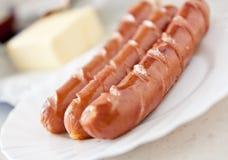 Alimento de cão quente da salsicha na placa imagens de stock