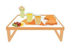 Alimento de café da manhã na bandeja ilustração royalty free