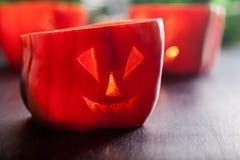 Alimento de Dia das Bruxas Pimentas de sino doce vermelhas fotografia de stock royalty free