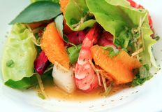 Alimento de la ensalada del camarón Foto de archivo libre de regalías