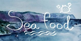 Alimento de mar deletreado ilustración del vector