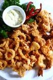 Alimento de mar fritado misturado Foto de Stock Royalty Free