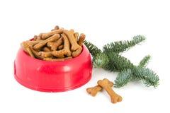 Alimento de perro con la Navidad fotografía de archivo