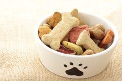 Alimento de perro en nota del tazón de fuente al editor: Imagen de archivo