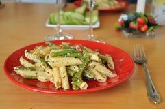 Alimento dei maccheroni e della verdura Immagini Stock