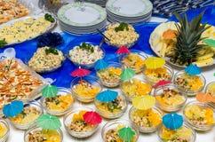 Alimento del abastecimiento en un partido Imagen de archivo