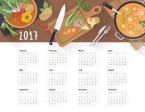 Alimento 2017 del calendario royalty illustrazione gratis