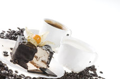 Alimento del chocolate con café y leche imagenes de archivo