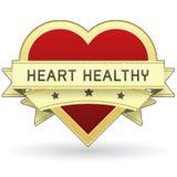 Alimento del corazón y escritura de la etiqueta o etiqueta engomada sana del producto Foto de archivo