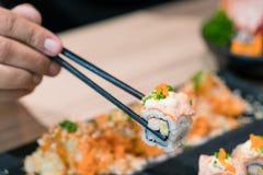 Alimento del Giappone, sushi di nigiri, insieme dell'alimento Immagini Stock Libere da Diritti